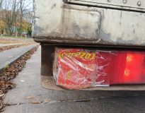 Lorry driver stopped on Motorway for using Lucozade bottle as rear indicator light