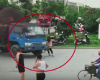 The bizarre moment woman attempts to scam truck driver