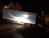 Amazon truck gets stuck under railway bridge making residents night sleepless