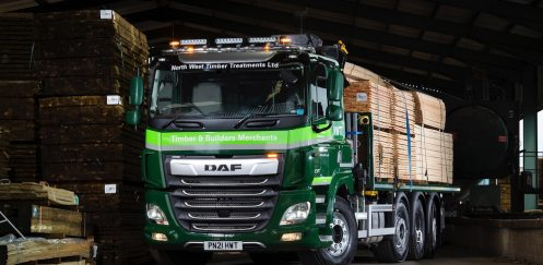 Timber and builders' merchant North West Timber Treatments takes DAF CF 480 tridem to boost productivity.