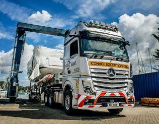 Portsmouth-based Coast2Coast Marine Transport used Mercedes Actros heavy haulers.